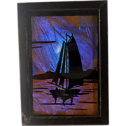Blue Morpho Butterfly Wing Picture Frame Sailboat Hand Painted