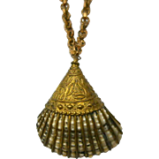 Vintage Ornate Shell Pendant Necklace Brass Accents