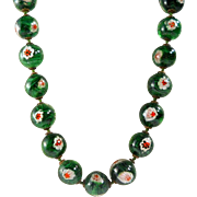 Italian Millefiori Evil Eye Talisman Necklace Vintage Art Glass