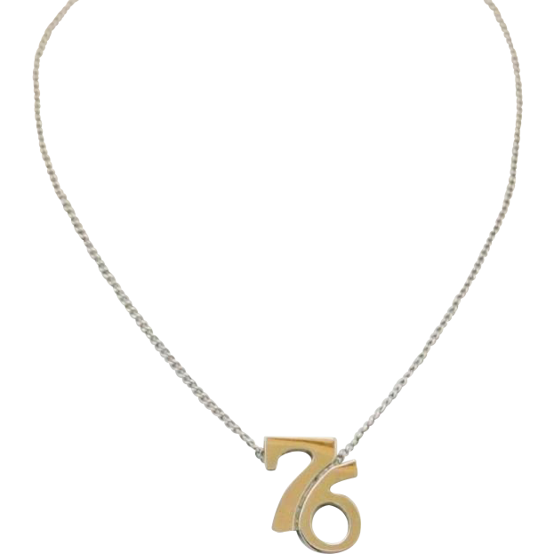 Vintage Cellini 1976 Pendant Necklace Sterling Silver Bicentennial