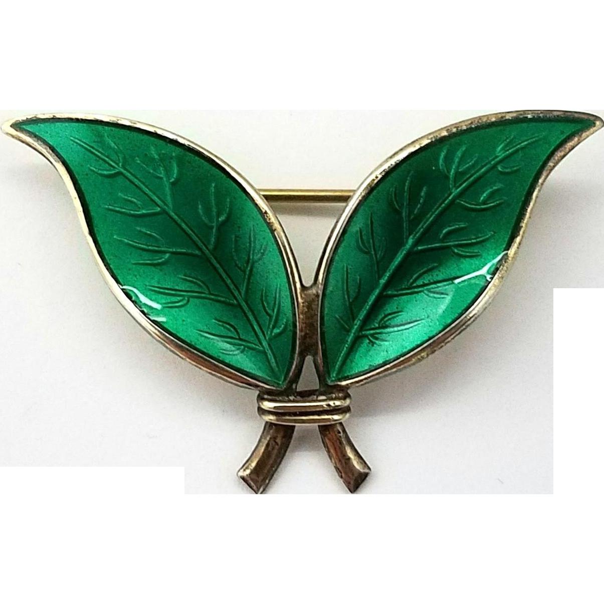 David Andersen Green Enamel Leaf Brooch Sterling Silver
