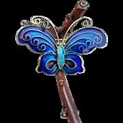 Gilt 900 Silver Butterfly Brooch Pin Vintage Enamel