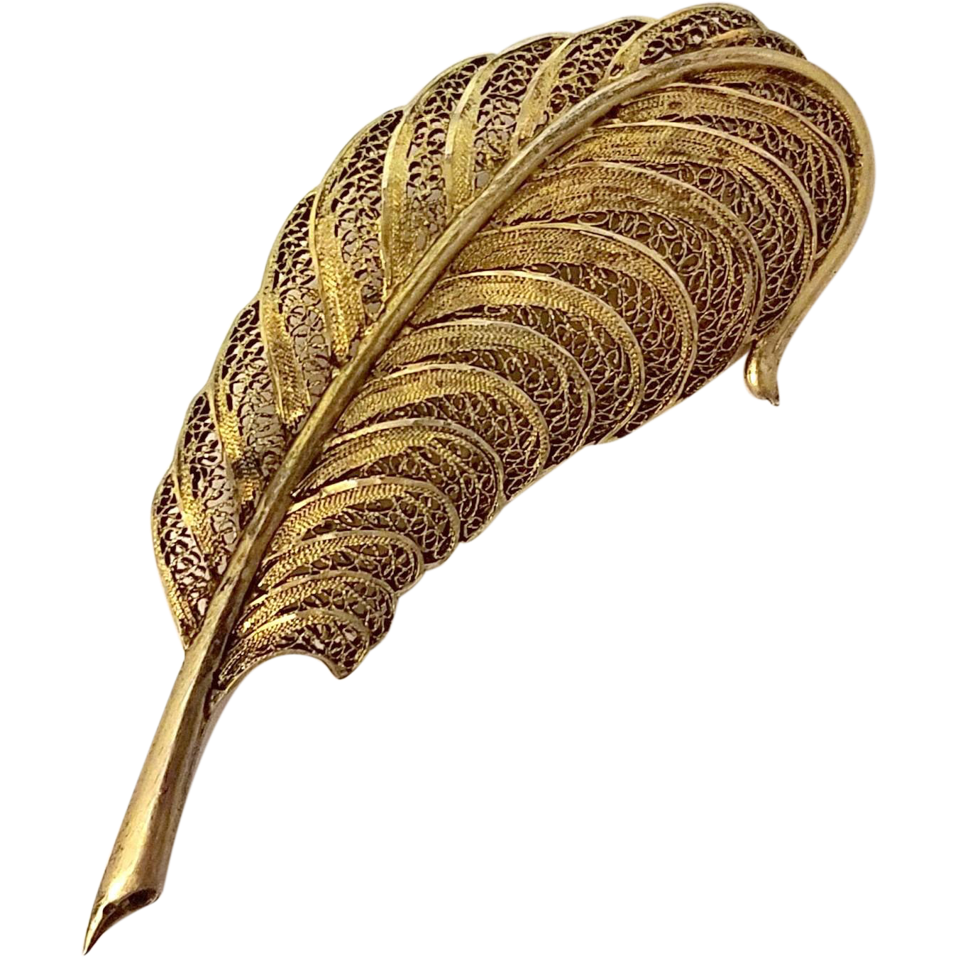 Vintage Filigree Feather Quill Brooch Pin Gilt Silver