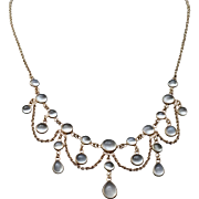 Antique Moonstone 14K Gold Festoon Necklace Edwardian Wedding Jewelry