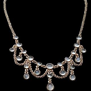 Antique Moonstone 14K Gold Festoon Necklace Edwardian
