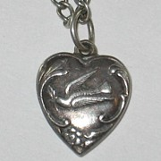 Fab Engraving - Sterling Silver Puffy Heart Charm - Dove and Olive Twig - Engraved 'Glen'