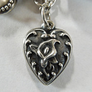 Sterling Silver Puffy Heart Charm – Repousse Calla Lily - Engraved 'Judge'