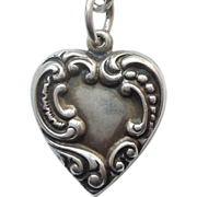 Sterling Silver Puffy Heart Charm - Asymmetrical Repousse - Engraved 'Josh-Bonnie'