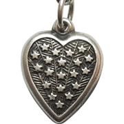 Sterling Silver Puffy Heart Charm - Shooting Stars - Engraved 'Pauline'