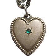 Sterling Silver Puffy Heart Charm – Beaded Border with Green Stone – Engraved 'MLK'