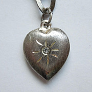 Sterling Silver Puffy Heart Charm with Clear Stone