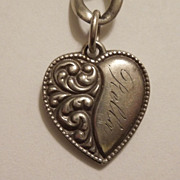 Victorian Sterling Silver Repousse Puffy Heart Charm - Engraved 'Rella'