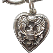 Sterling Silver Puffy Heart Charm - Great Seal of the United States - Eagle