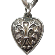 Extra Chubby Sterling Silver Puffy Heart Charm - Thistle Repousse