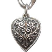 Extra Chubby Sterling Silver Puffy Heart Charm - Vines