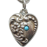 Sterling Silver Puffy Heart Charm - Floral Repousse with Turquoise-blue Stone - Engraved 'JMF'