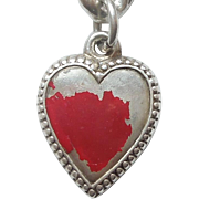 Sterling Silver Puffy Heart Charm - Finely Beaded Edge - Engraved 'Em'