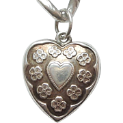 Sterling Silver Puffy Heart Charm - Heart in Heart with Forget-Me-Not Flowers