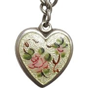 Walter Lampl Sterling Silver Pale Yellow Guilloche Puffy Heart with Pink Rose - Engraved 'MLT'