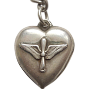 Sterling Silver Puffy Heart Charm - WW2 Wings and Propeller US Army Air Force Insignia - Engraved 'Hank'