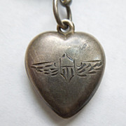 Sterling Silver Puffy Heart Charm – Unusual Etched Air Force or Pilot's Wings - Ornately Engraved 'MAMMY'