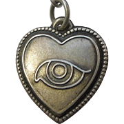 Sterling Silver Puffy Heart Charm – Eye