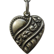 Sterling Silver Puffy Heart Charm – Repousse Banner with Swirls - Engraved 'Patty'