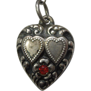 Sterling Silver Repousse Puffy Heart Charm – Double Hearts and Flower with Red Stone