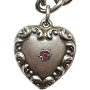 Sterling Silver Puffy Heart Charm - Repousse Curls with Pink Stone