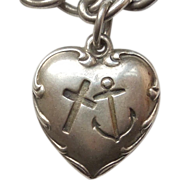 Sterling Silver Puffy Heart Charm - Faith Hope Charity