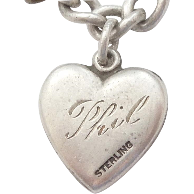 sterling silver charm engraved phil from