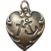 Sterling Silver Puffy Heart Charm - Faith Hope and Charity