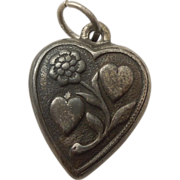 Sterling Silver Repousse Puffy Heart Charm - Double Hearts and Floral Vine - Engraved 'MW'