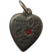Sterling Silver Puffy Heart Charm - Classic Forget Me Not with Red Stone - Engraved 'NS'