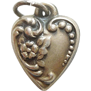 Smaller Sterling Silver Floral Repousse Puffy Heart Charm