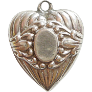 Sterling Silver Repousse Puffy Heart Charm - Oval Cartouche - Engraved 'HP '41'