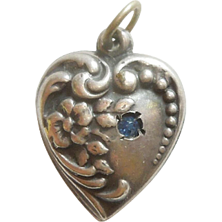 Sterling Silver Puffy Heart Charm – Repousse with Blue Stone - Engraved 'Earl'