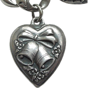 Sterling Silver Puffy Heart Charm ~ Repousse Bells, Bow, and Flowers ~ Engraved 'AP'