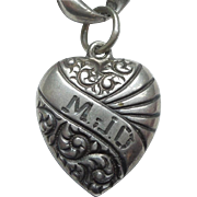 Sterling Silver Puffy Heart Charm - Double-sided Repousse with Banner - Engraved 'M.J.D.'
