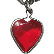 Vintage 1940s Puffy Red Heart Charm