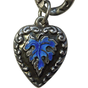 Sterling Silver Puffy Heart Charm - Blue Enamel Leaf - Engraved 'MS'