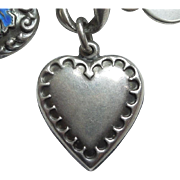 Sterling Silver Puffy Heart Charm - Crimped Repousse Border