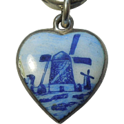 Vintage Puffy Heart Charm – Delft China Dutch Windmill