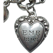 Sterling Silver Puffy Heart Charm - Double-sided Repousse Border - Engraved Front and Back