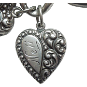 Sterling Silver Puffy Heart Charm - Asymmetrical Repousse Teardrop - Engraved 'Nell'