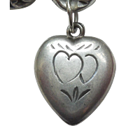 Sterling Silver Puffy Heart Charm - Hearts Holding Hands