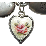 Sterling Silver Puffy Heart Charm - Yellow Guilloche Enamel with Pink Rose