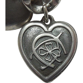 Sterling Silver Puffy Heart Charm - Triple Good Luck - Engraved 'Mrs. Reed'