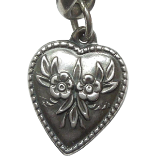 Sterling Silver Repousse Puffy Heart Charm - Symmetrical Forget-Me-Not Flowers - Engraved 'Sally'