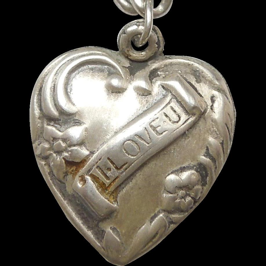 sterling silver charm i u engraved